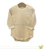 baby body suits organic cotton long sleeve nature stripes color with rabbit embroidery