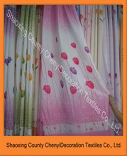 100% polyester rose printed curtain