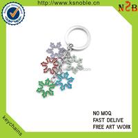 Custom Christmas snowflake shape metal keychain