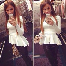 Ladies Long Sleeve O-neck Asymmetric Hem High Waist Fancy White Cotton Blouse for Office SV015443