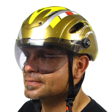 In-mold custom bicycle helmet with face shield