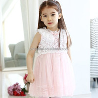 Guangdong wholesale brand girls summer model Sleeveless lace patchwork dress