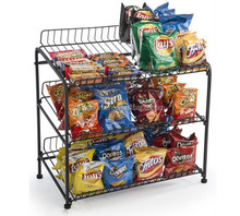 POP Store Wire Rack for Countertop Use with 3 Open Shelves, Black