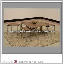 mesa de centro wlanut pvc pegado con recubrimiento de polvo de metal
