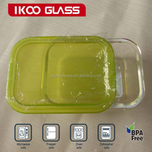 High Quality Rectangle 1500ml Pyrex Glass Food Container With non-snapped lids