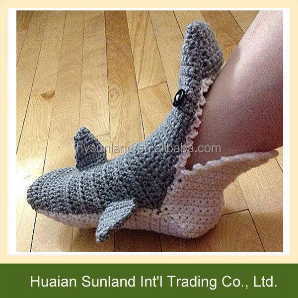 W 976 Hand Crochet Funny Shark Socks Knitting Shark Socks Slippers