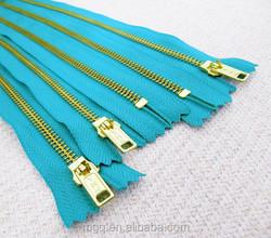 2016 NEW Fashion #5 YKK Turquoise Metal Zipper sewing- Gold Teeth , customized length