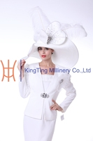 Graceful Women Church Suits Together With Church Hats For Wedding