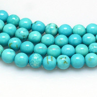 8mm Dyed Round Loose Natural Turquoise Stones Beads Strings Wholesale