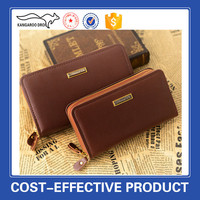 hot selling cheap pu brown leather man long purses