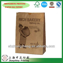 hot dog/pizza/bread/dognut paper bag, printed food grade paper bag with brown paper