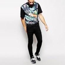 novel design raw cuffs floral digital t-shirt printing