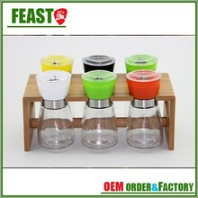fashion glass spice jar with clamp lid high transparency glass spice grinder