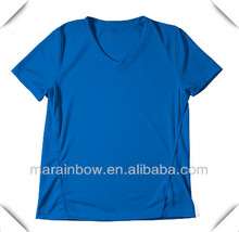 100% Microfiber Polyester V neck short sleeve running t shirt for men made in China ,cheapest price wholesale