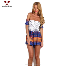 2015 Wome fashion wear Europe and the United States women's summer wear Printed strapless dress restoring ancient ways dresses