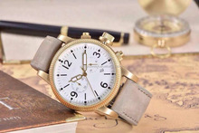 Gray Leather Strap white Glass gold Analog Dial Chronograph Watch