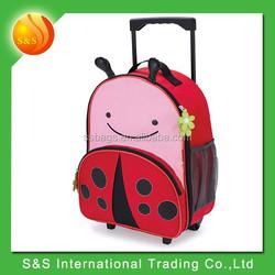 Cute polyester ladybug kids trolley school bag