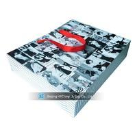 2015 new hot sales kraft paper shopping bag with ribbon handle