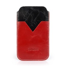 Shiny wax leather universal cell phone case 4.5-4.7 inch pouch