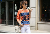 OEM women's screen print and patch style long sleeve tshirt