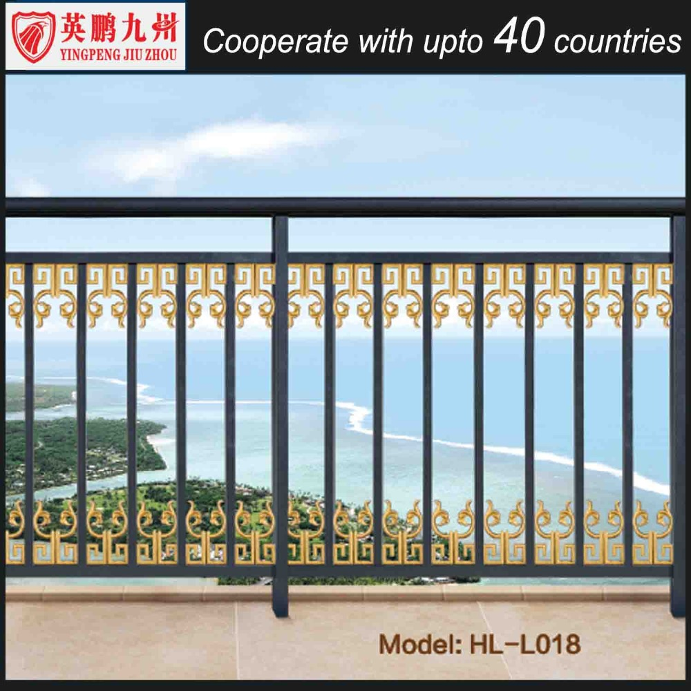 Balcony guardrail aluminum window iron grill design for for Balcony full grill design