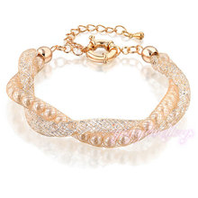 best selling products double gold chain crystal and pearl wire mesh bracelet