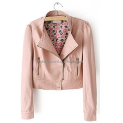 2015 Slim Fancy Pink Solid PU Leather Lady Casual Short Motorcycle Jacket