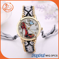 New Fashion Lady Bracelet Watches Knitted Wrap Vintage Women Watches Shoes Butterfly On Dial Timepieces