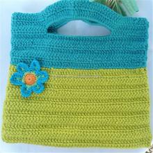 2015 handmade women crochet hand bag with knitted flower