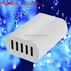 small size power supply 50 watt multi fast smart charger 5 usb charger 10a with LED light