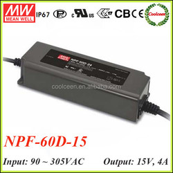 Meanwell NPF-60D-15 60w constant voltage led driver 15v 4a