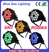 2015 hotsale 18pcs x 15w 5in1 rgbwa led par 64 rgb dmx stage lighting