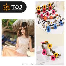 2015 hot selling fashion Simulation Chrysanthemum Wedding Bride Headwear party hairband for women flower hair accessories