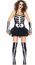 nuevos popular sexy patrón de hueso de vampiro disfraces de halloween para la mujer