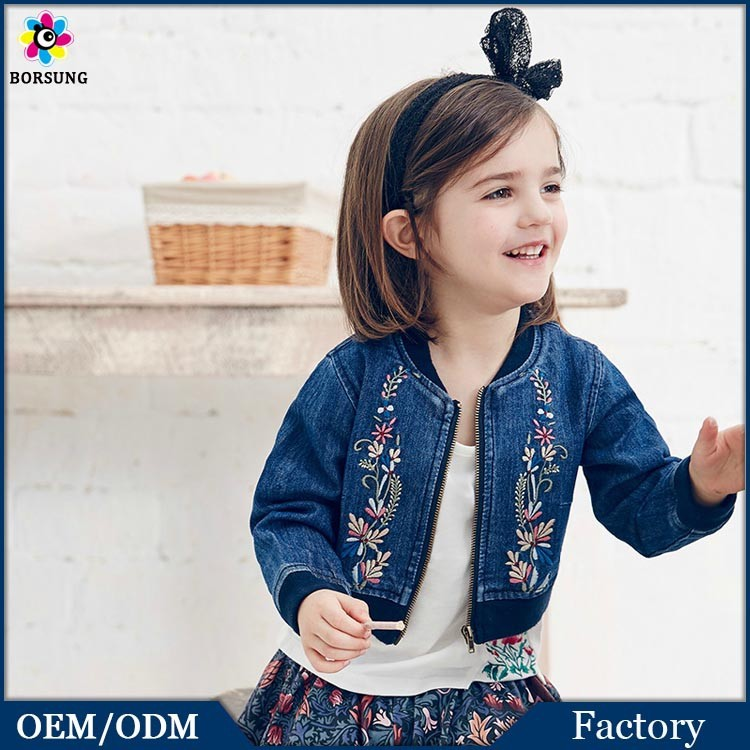 Fall Vintage Style Long Sleeve Cotton Kids Girls Embroidered Custom Denim Bomber Jacket