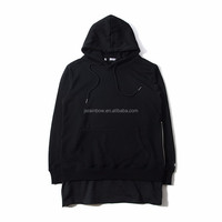 High quality Fake two piece unisex baggy cotton wholesale pullover hoodie blank with side zip