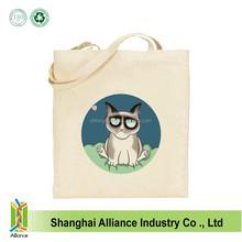 Cartoon Angry Cat Printing Organic Canvas Tote Bag