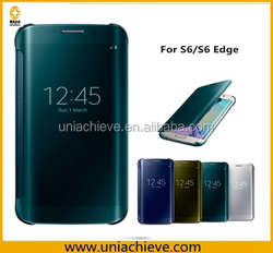 PU Leather Smart Mirror Clear View Flip Case Cover for Samsung Galaxy S6/S6 Edge