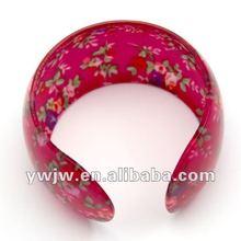 2012 Newly Flower Printing Acrylic Bracelet Clasps Buckle(JW-4038)