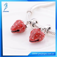 Enamel Strawberry Dangle Charms 925 Sterling Silver Beads Fit Bracelet