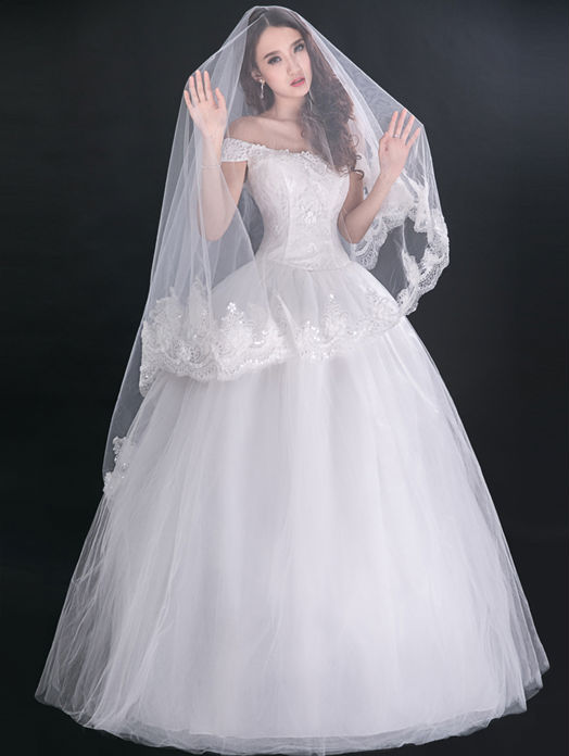 Vintage victorian style cap sleeves lace up back princess for Vintage victorian wedding dresses