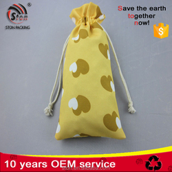 High quality small natural calico cotton canvas drawstring bag for perfume and cosmetic packing