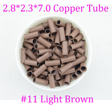 wholesale 2.8*2.3*7mm Copper Tubes beads Micro links Rings tube for loop in feather Hair Extensions kit set #11