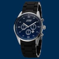 luxury large display 3 hands dial elegant quartz watch,silicone strap wristband