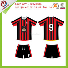soccer jersey polyester short sleeves soccer kits,black piping athletic jersey blank style logo printing