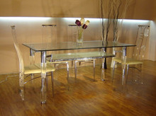 rectangle cheap double glass dining table
