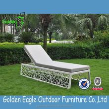 PE rattan woven furniture unique weaving style sun lounger