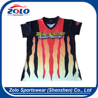 Breathable Women's V neck Sublimated Custom Pit Crew Racing Shirts