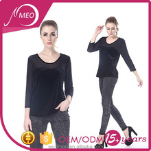 women's long sleeve sexy blouse black mesh blouse latest formal skirt blouse patterns for ladies