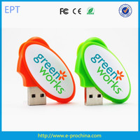 Customized Epoxy Oval Plastic USB Flash Drive for promotion